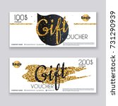 voucher template with gold gift ... | Shutterstock .eps vector #731290939