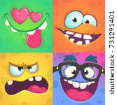 cartoon monster faces set.... | Shutterstock .eps vector #731291401