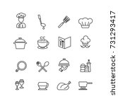 cook and chef icons set vector | Shutterstock .eps vector #731293417
