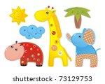 Children Applique 'Africa': elephant, hippopotamus and giraffe - stock photo