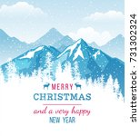 christmas and new year card on... | Shutterstock .eps vector #731302324