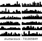 modern city skyline set  vector | Shutterstock .eps vector #731305849