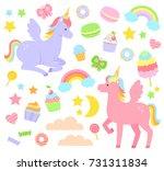 set of unicorns  rainbows ...   Shutterstock .eps vector #731311834