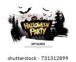 halloween party. vector... | Shutterstock .eps vector #731312899