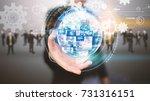 businessman holding business... | Shutterstock . vector #731316151