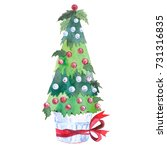 new year tree  painted in... | Shutterstock . vector #731316835