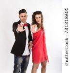 elegant couple gesturing stop... | Shutterstock . vector #731318605