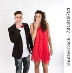 elegant couple omg faces  light ... | Shutterstock . vector #731318701