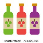 3 bottles of wine vector icon | Shutterstock .eps vector #731323651