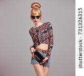 fashion. sexy model girl ... | Shutterstock . vector #731326315