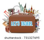 suitcase travel bag with world... | Shutterstock .eps vector #731327695