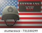military helmet on the...