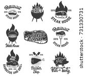 set of steak house emblems.... | Shutterstock .eps vector #731330731