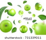 vector falling green apples... | Shutterstock .eps vector #731339011