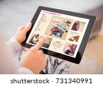 woman shopping for clothes... | Shutterstock . vector #731340991