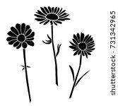 set of silhouettes of flowers...   Shutterstock .eps vector #731342965