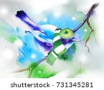 blue bird in a beret and scarf. ... | Shutterstock . vector #731345281