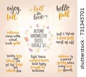 autumn quotes vintage lettering ... | Shutterstock .eps vector #731345701