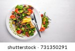 brie cheese with grilled... | Shutterstock . vector #731350291