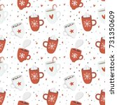 seamless pattern with cute cozy ...   Shutterstock .eps vector #731350609