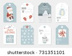 collection of 8 cute merry... | Shutterstock .eps vector #731351101