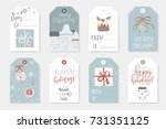 collection of 8 cute merry... | Shutterstock .eps vector #731351125