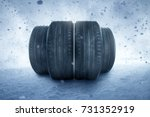 winter tires in a snow storm | Shutterstock . vector #731352919