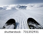 ski slope and skis | Shutterstock . vector #731352931