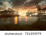 hamburg port | Shutterstock . vector #731355979