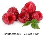 ripe raspberries with green... | Shutterstock . vector #731357434