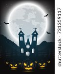 halloween night background with ... | Shutterstock .eps vector #731359117