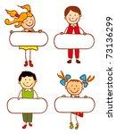 kids holding blank sign... | Shutterstock .eps vector #73136299