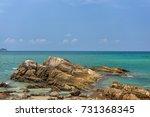 beautiful rocks on beach   Shutterstock . vector #731368345