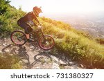 a rider in a helmet is riding...   Shutterstock . vector #731380327