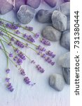 pebbles and lavender flowers  ... | Shutterstock . vector #731380444