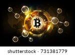 golden bitcoin digital currency ... | Shutterstock .eps vector #731381779