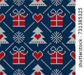 winter holiday seamless knitted ... | Shutterstock .eps vector #731385325
