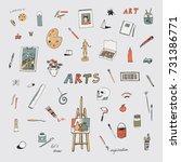 arts doodle objects set   Shutterstock . vector #731386771