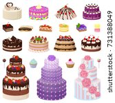 collection of tasty cakes of... | Shutterstock .eps vector #731388049