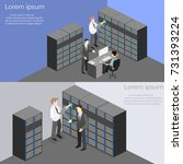 isometric interior of server... | Shutterstock . vector #731393224