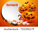 halloween template. pumpkins... | Shutterstock .eps vector #731396179