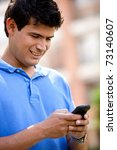 man texting on his mobile phone ... | Shutterstock . vector #73140607