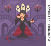 vampire lady in a black dress... | Shutterstock .eps vector #731406205