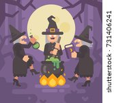 three wicked old witches... | Shutterstock .eps vector #731406241