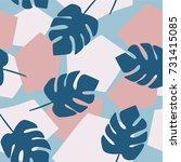 jungle tropical pattern  random ... | Shutterstock .eps vector #731415085