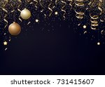christmas background with gold ... | Shutterstock . vector #731415607