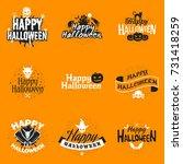 set of happy halloween badges... | Shutterstock .eps vector #731418259