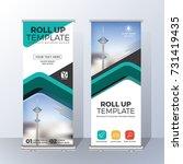 vertical roll up banner... | Shutterstock .eps vector #731419435