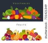 fruits and vegetables banner.... | Shutterstock .eps vector #731421349