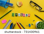 english word of carved letters... | Shutterstock . vector #731430961
